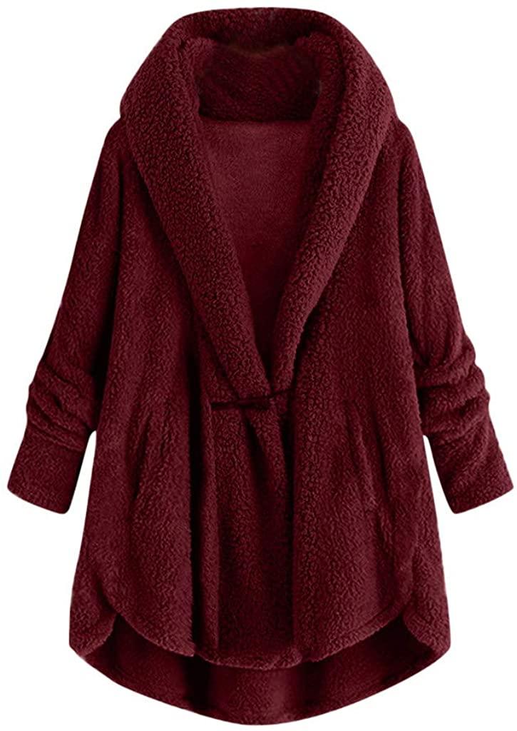 Fastbot womens Plush Pajamas Cardigan Shaggy Sweater Button Sweatshirt Fleece Fuzzy Pullover Fluffy Jacket Christmas Coat