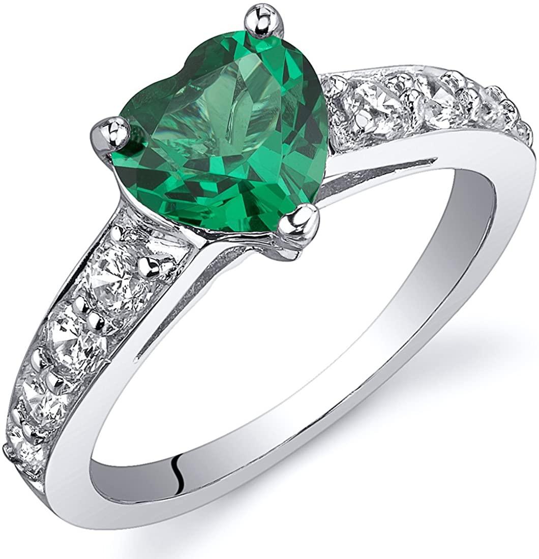 Peora Simulated Emerald Heart Promise Ring in Sterling Silver, 1 Carat, Comfort Fit, Sizes 5 to 9