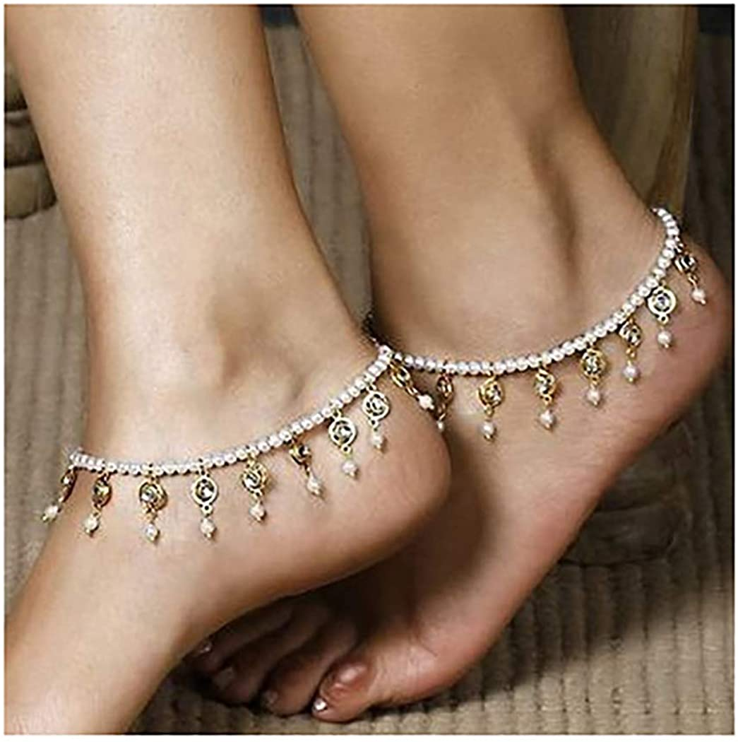 Yokawe Boho Ankle Bracelet Gold Crystal Tassel Anklets Foot Chains Bohemia Pearl Summer Beach Party Feet Accessories Jewelry for Women and Girls