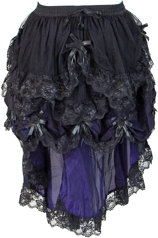 Dark Star Black Purple Gothic Medieval Satin Roses Lace Hi Low Bridal Skirt M-2X