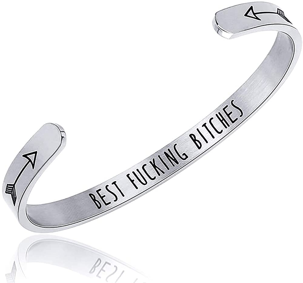 Wowanoo Personalized Cuff Bracelet Relationship Gift for Sister Stainless Steel Bracelet Gift for Birthday Graduation