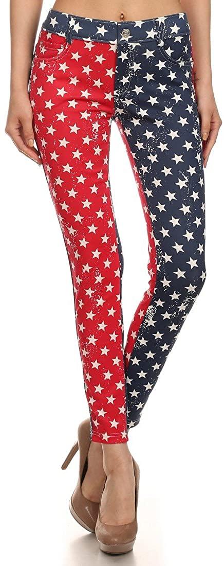 ICONOFLASH Women's USA American Flag Jeggings (Star Spangled, ML)