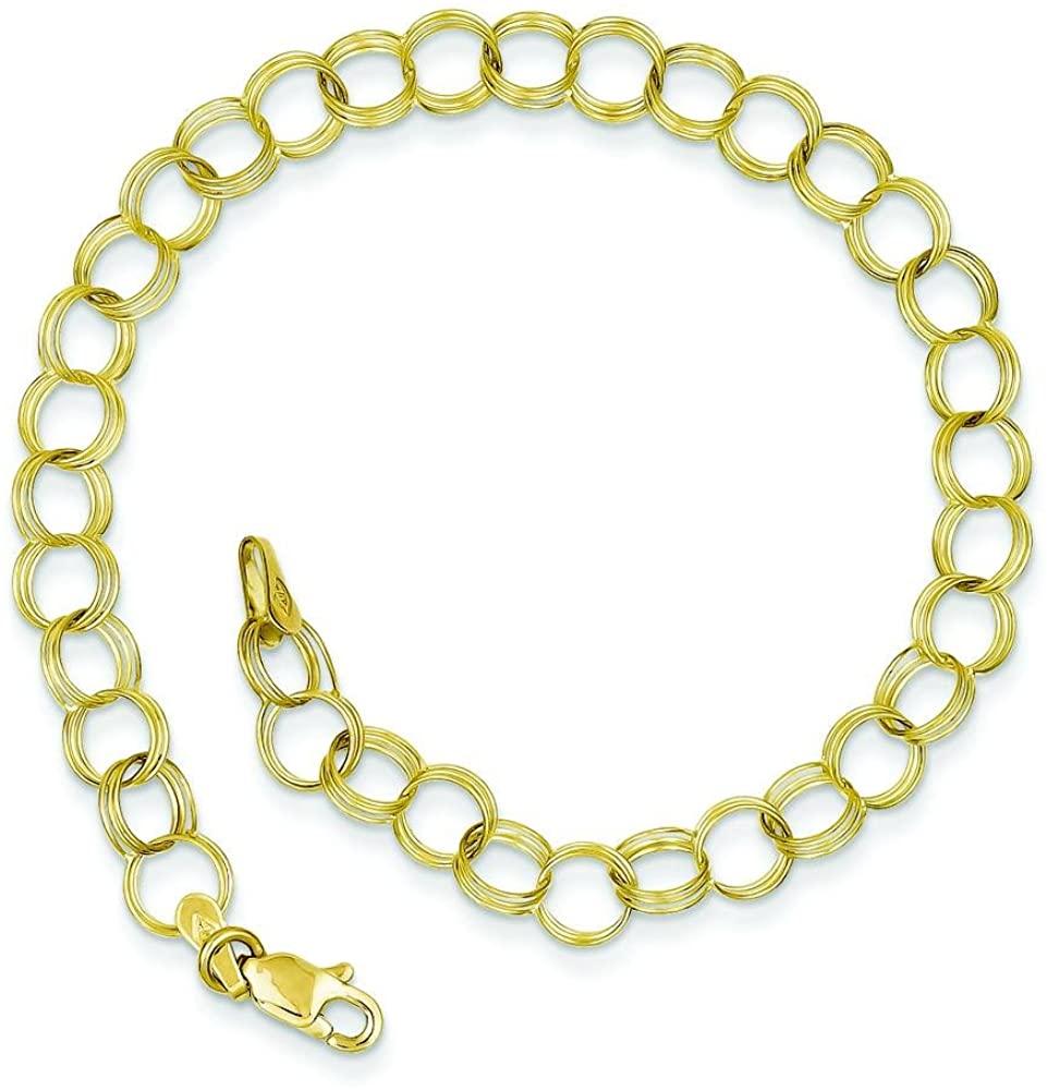 10K Yellow Gold Triple Link Charm Bracelet 7
