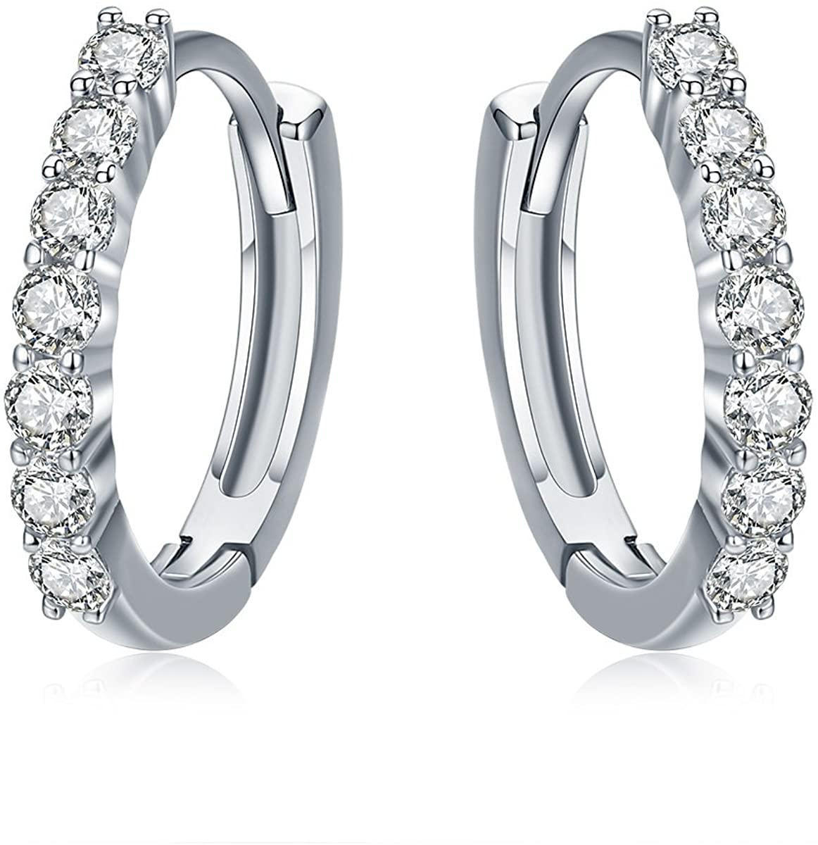 Sterling Silver Hoop Earrings Cubic Zirconia Huggie Earrings for Cartilage Jewellery Gift for Women Girls