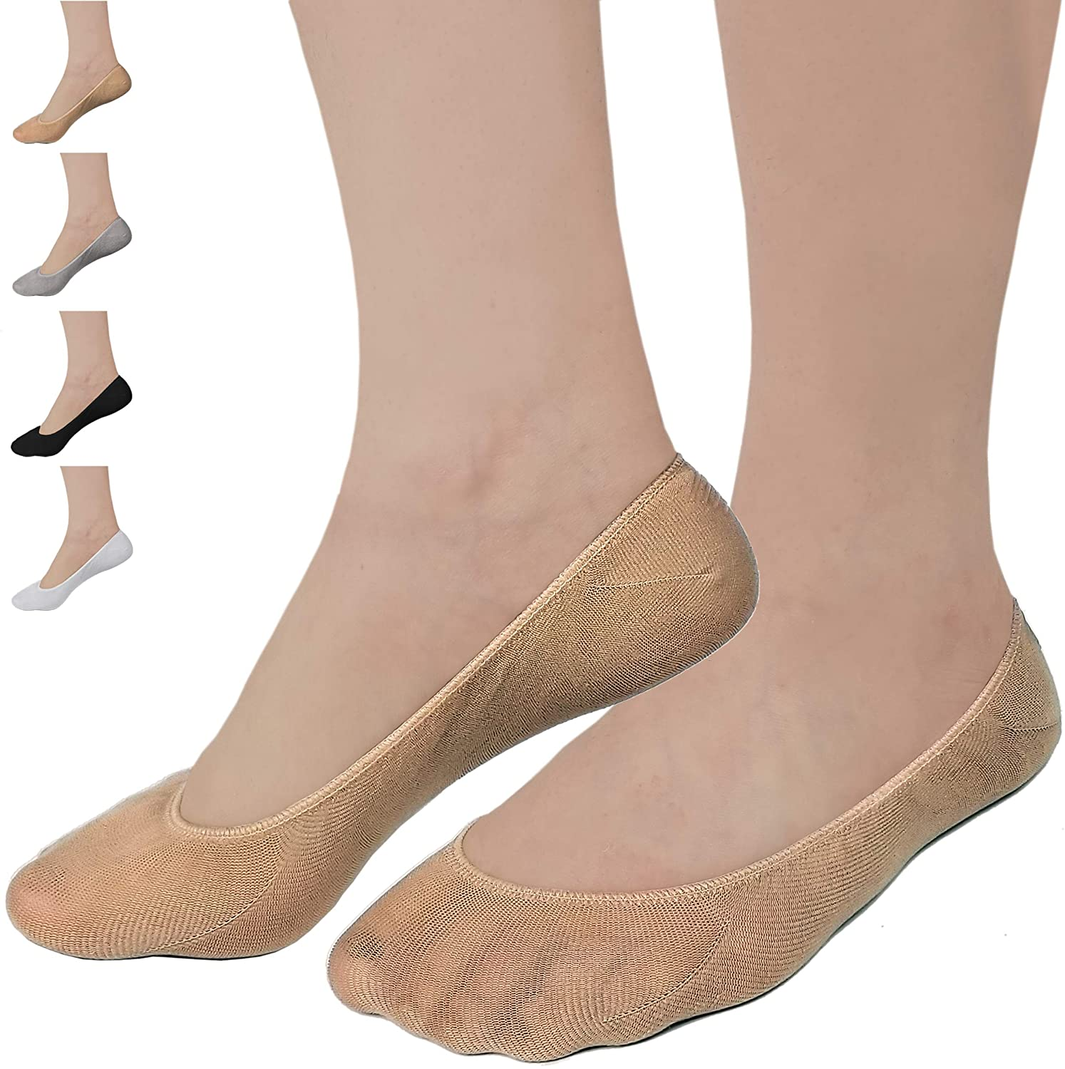 Debra Weitzner Womens Ultra Low Cut No Show Socks Non-Slip Boat Liner For Flats - 12 Pairs Beige/Grey S/M