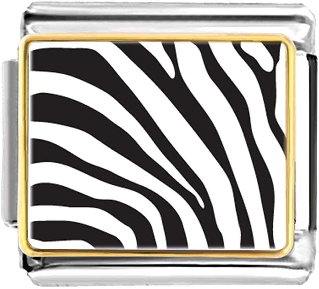 GiftJewelryShop Gold Plated Zebra Skin Bracelet Link Photo Italian Charm
