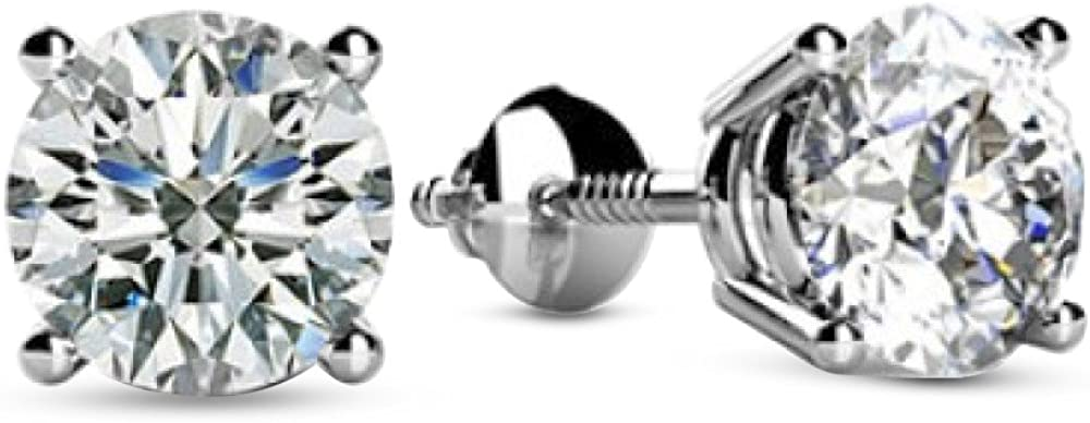 1/4-2 Carat Total Weight Round Diamond Stud Earrings 4 Prong Screw Back (D-E Color SI2-I1 Clarity)