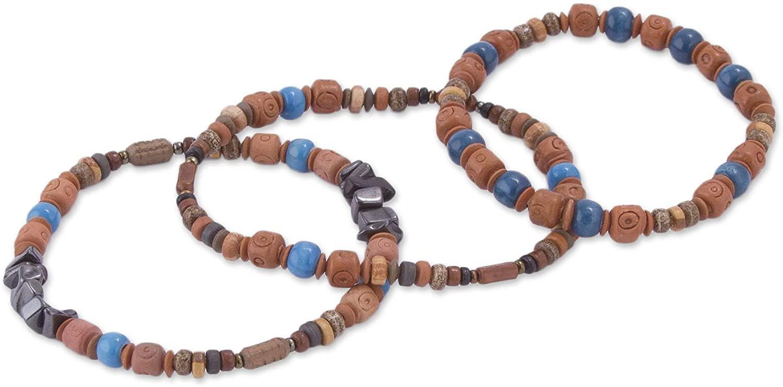 NOVICA Hematite Acrylic Beaded Bracelet 'Andean Eyes' (Set of 3)