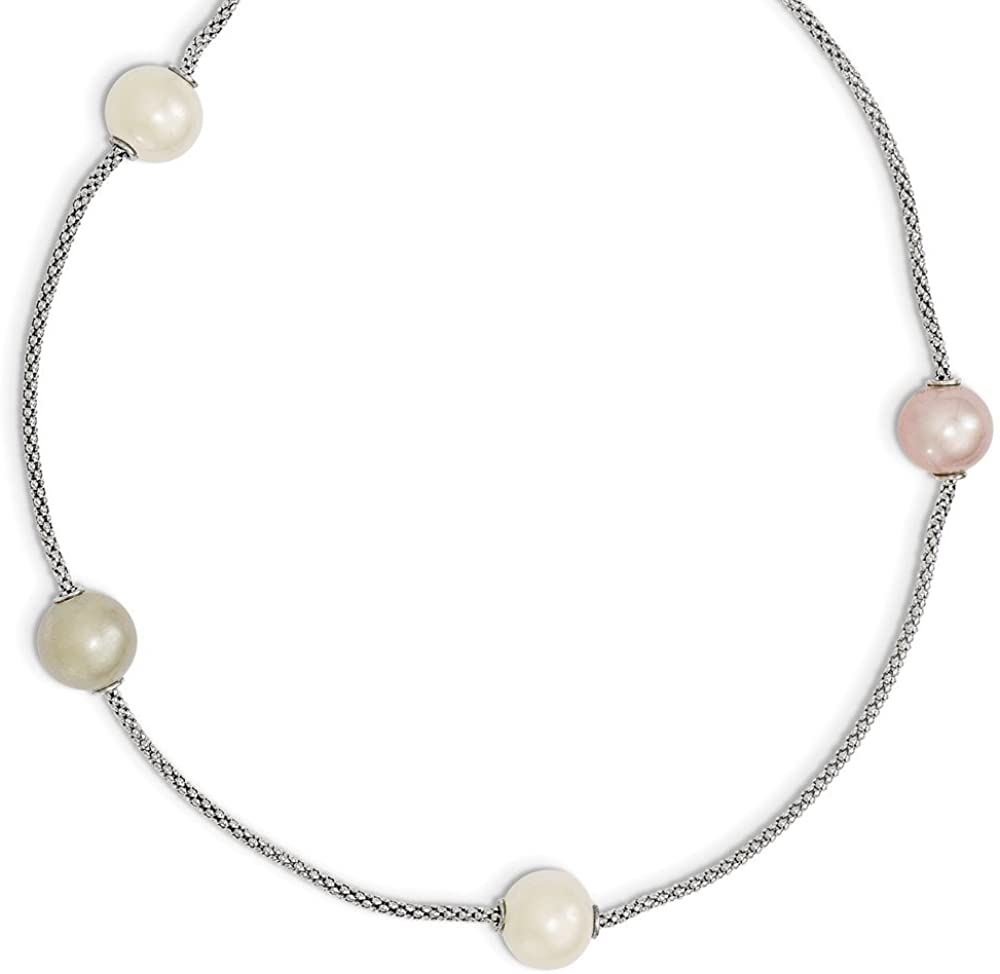 925 Sterling Silver 9-10mm Multi-color Freshwater Cultured Pearl 2in Extension Neck 17