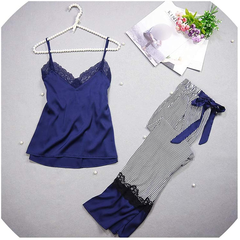 Lace Female Sleepwear Sexy Satin Pyjamas Vest+Long Pants 2Pieces Spring Autumn Women Silk Pijama Sets