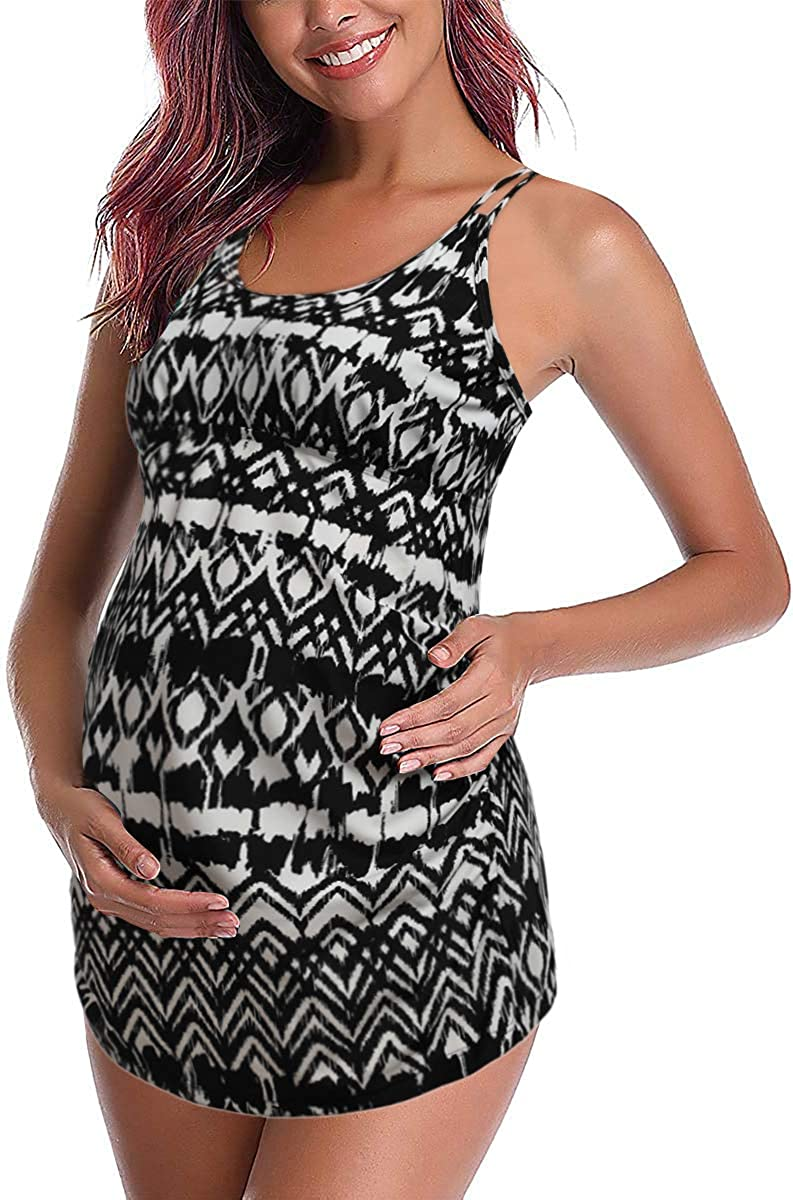 DUSISHIDAN Women's Maternity Swimsuits Bathing Suits Pregnancy Plus Size Tankini Tops