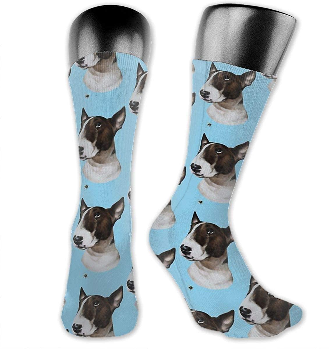 Unisex Crazy Funny Cool 3D Print Bull Terrier Bully And Bee Socks Colorful Running Sport Socks Novelty Casual Crew Socks