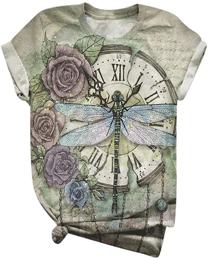 Dragonfly Graphic Tees for Women Rose Clock Dragonfly Pattern Print Crewneck Short Sleeve Tunic Shirts Tops Tees