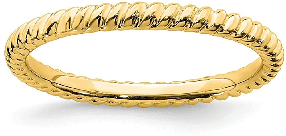 925 Sterling Silver Stackable Gold-plated Twisted Ring Eternity Band