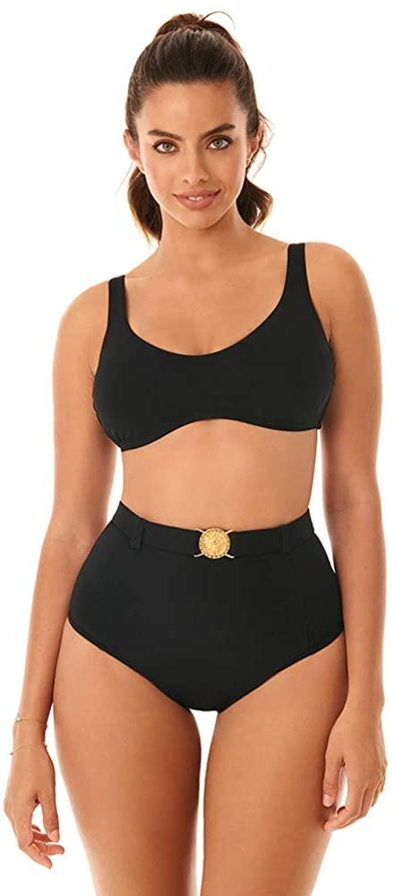 Skinny Dippers Women's Swimwear Simba Pin Up Belted Medallion High Waist Tummy Control Swim Bottom