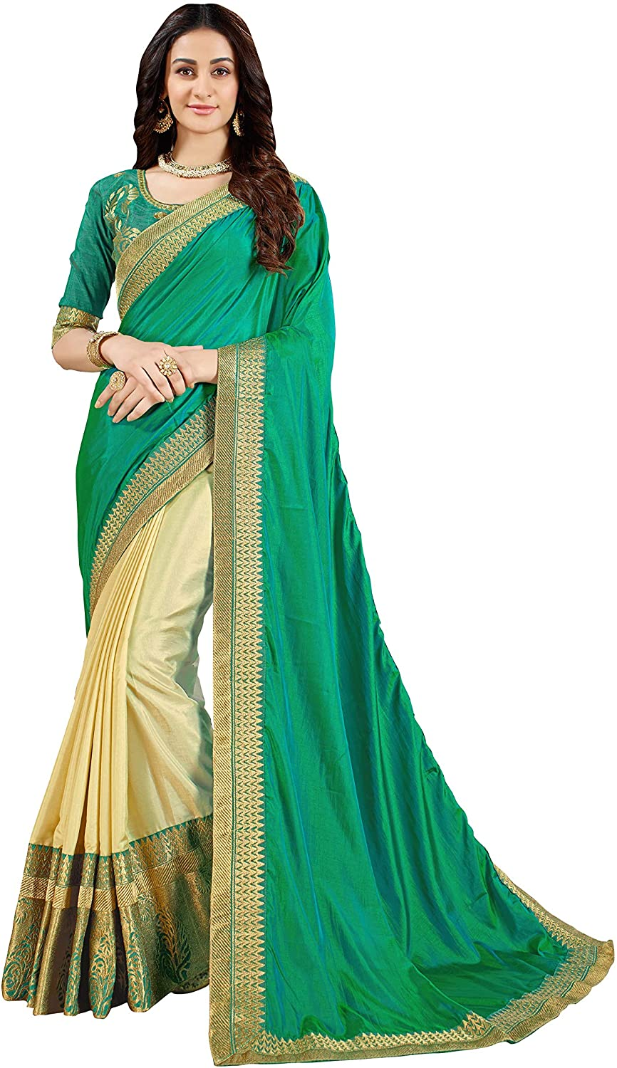 Manohari Embroidered Green Art Silk Saree with Blouse Piece