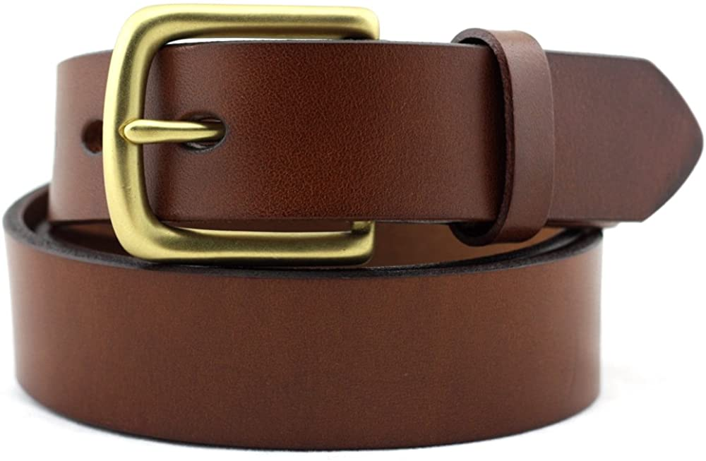 Geremen Nickel Free Brass Buckle Brown Leather Belt for Women C09