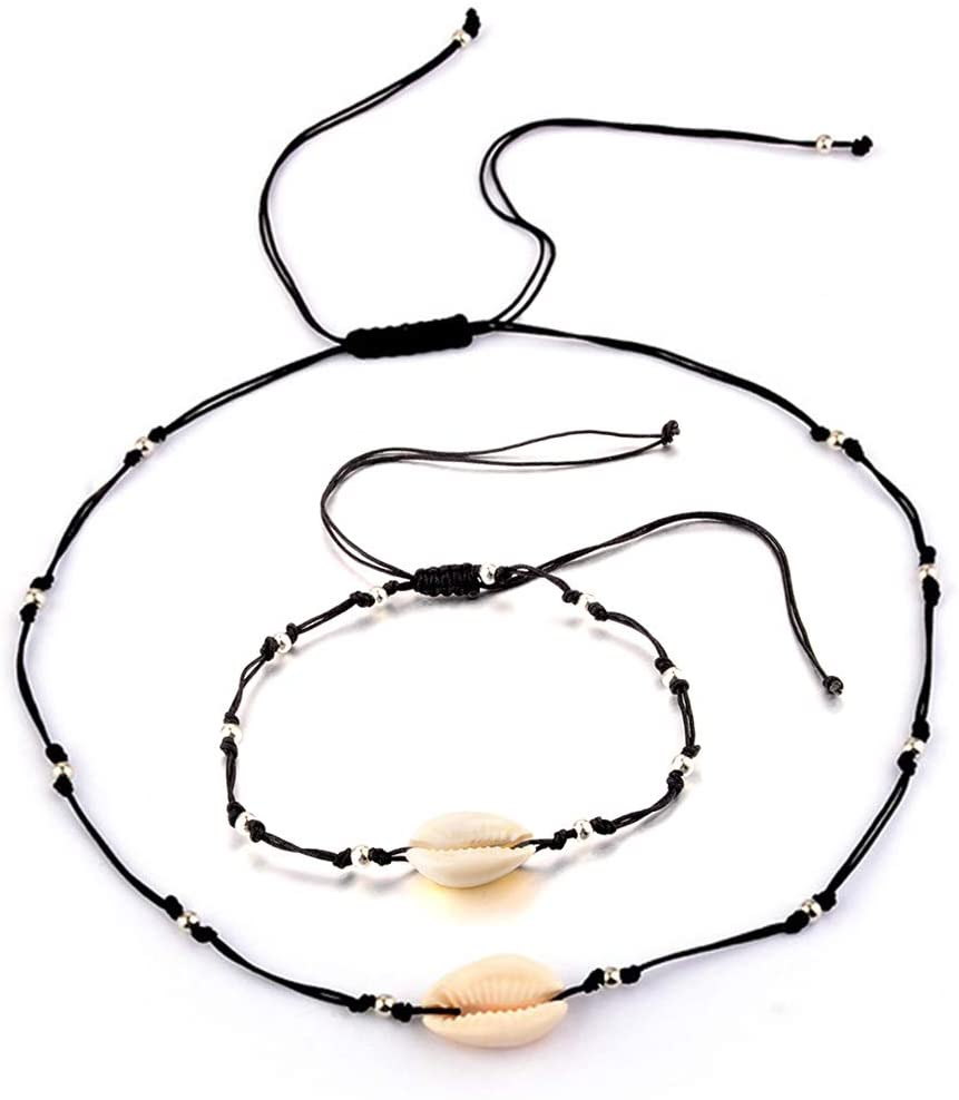 Cowrie Shell Choker Necklace and Anklet - Seashell Necklace Choker Anklet for Women Girls Adjustable Puka Cowrie Beaded Summer Hawaiian Beach Handmade Jewelry Gifts