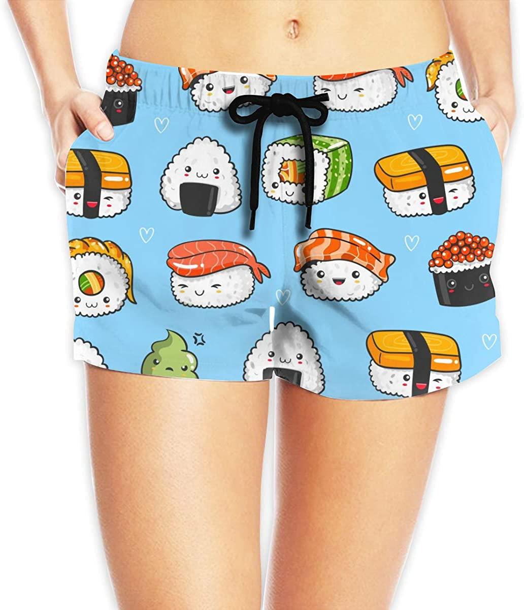 MOCSTONE Kawaii Sushi Women's Beach Shorts Board Shorts with Pocket Swimming Trunks