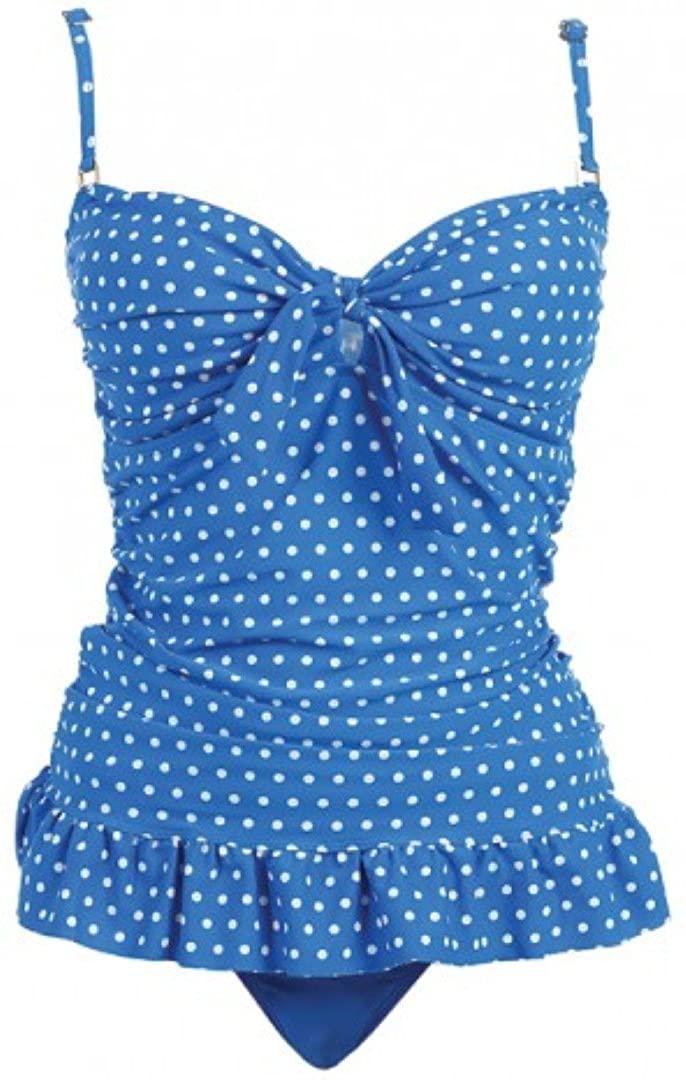 2 PC. Ladies Blue White Dots Swimwear