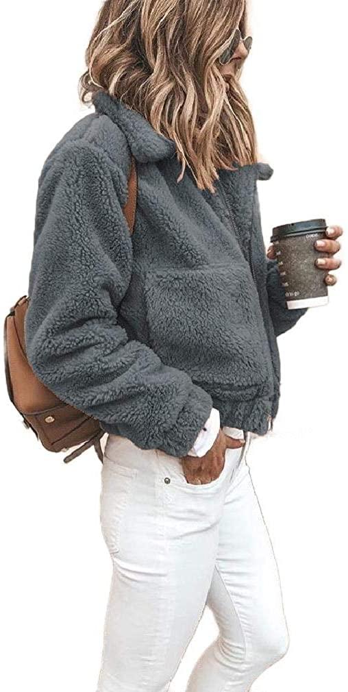 Losait Women's Pockets Outwear Lapel Autumn Winter Zip Coat Jacket