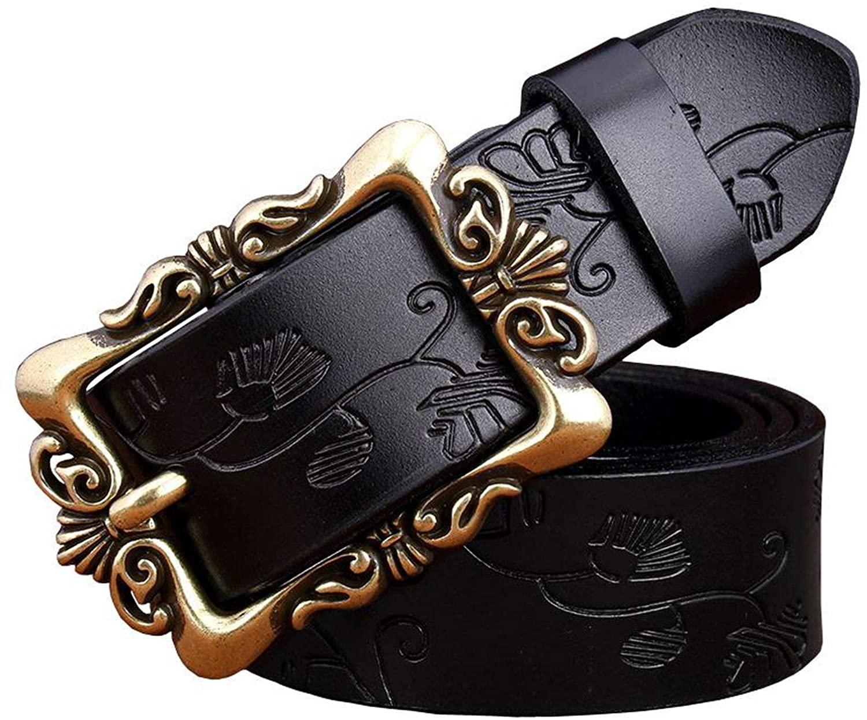 Wide Genuine Leather Belts Women Vintage Floral Pin Buckle Woman Belt Second Layer Cowskin Jeans Strap