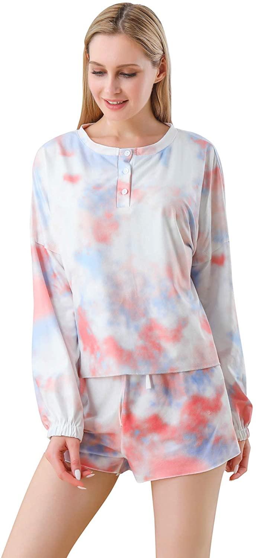 Mvefward Women Tie Dye Printed Long Sleeve Pajamas Sets Shirt Ruffle Shorts Loungewear Two Piece Short Sleepwear