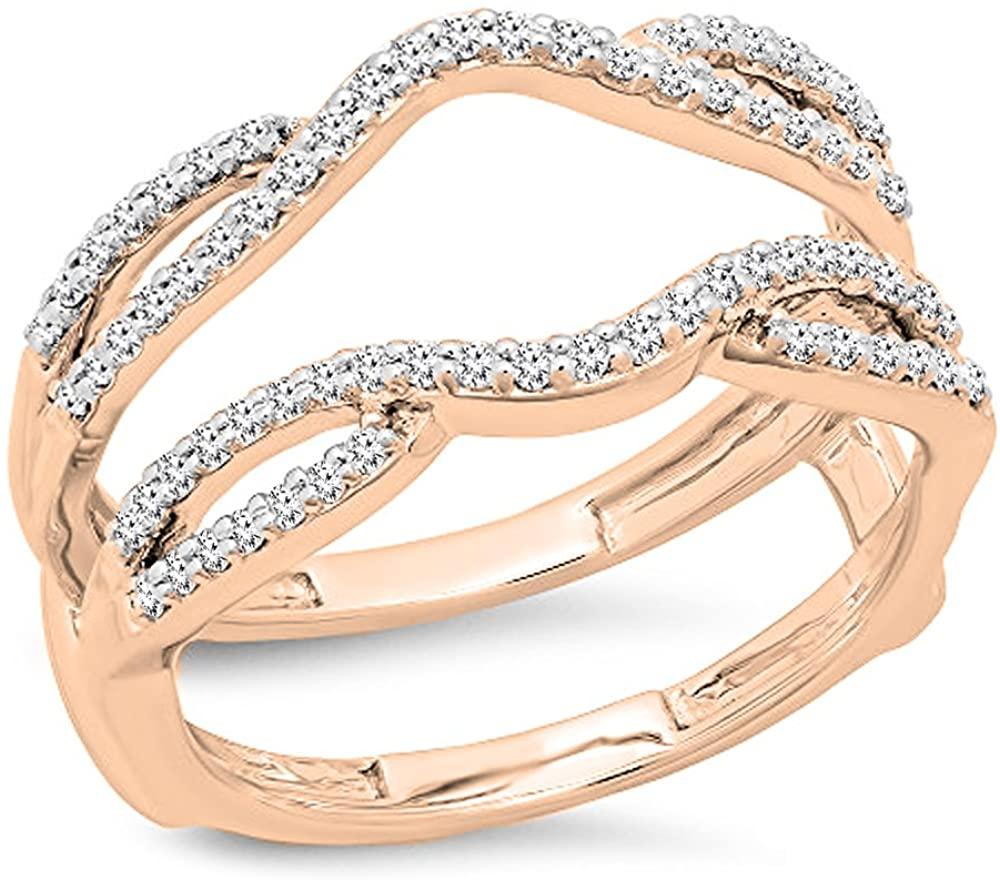 Dazzlingrock Collection 0.35 Carat (ctw) 10K Round Cut White Diamond Ladies Wedding Band Guard Double Ring 1/3 CT, White Gold