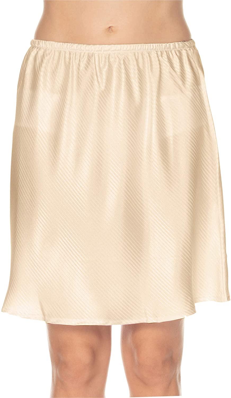 Gemsli Womens Elegant Tonal Stripe Half Slip HW324 Taupe