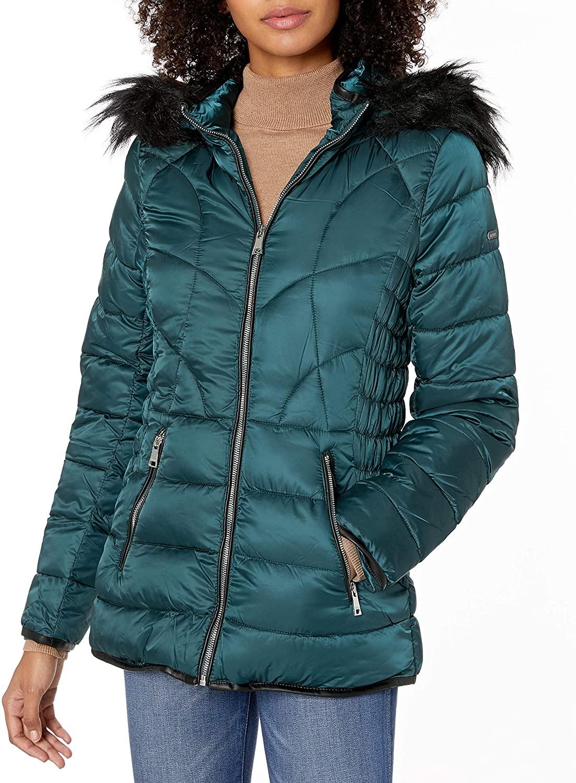 BeBe Women's Outerwear Women's Petite Puffer Jacket, Winter