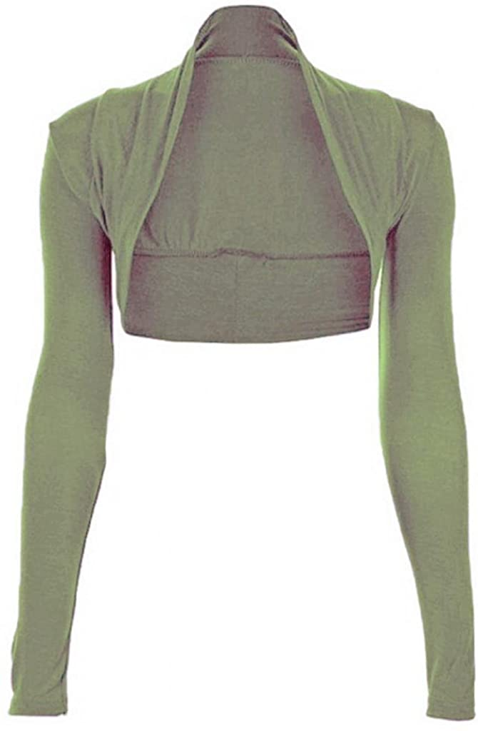 Women Long Sleeve Cropped Plain Bolero Shrug#(Khaki Plain Long Sleeves Bolero Shrug#UK 16-18#Women)