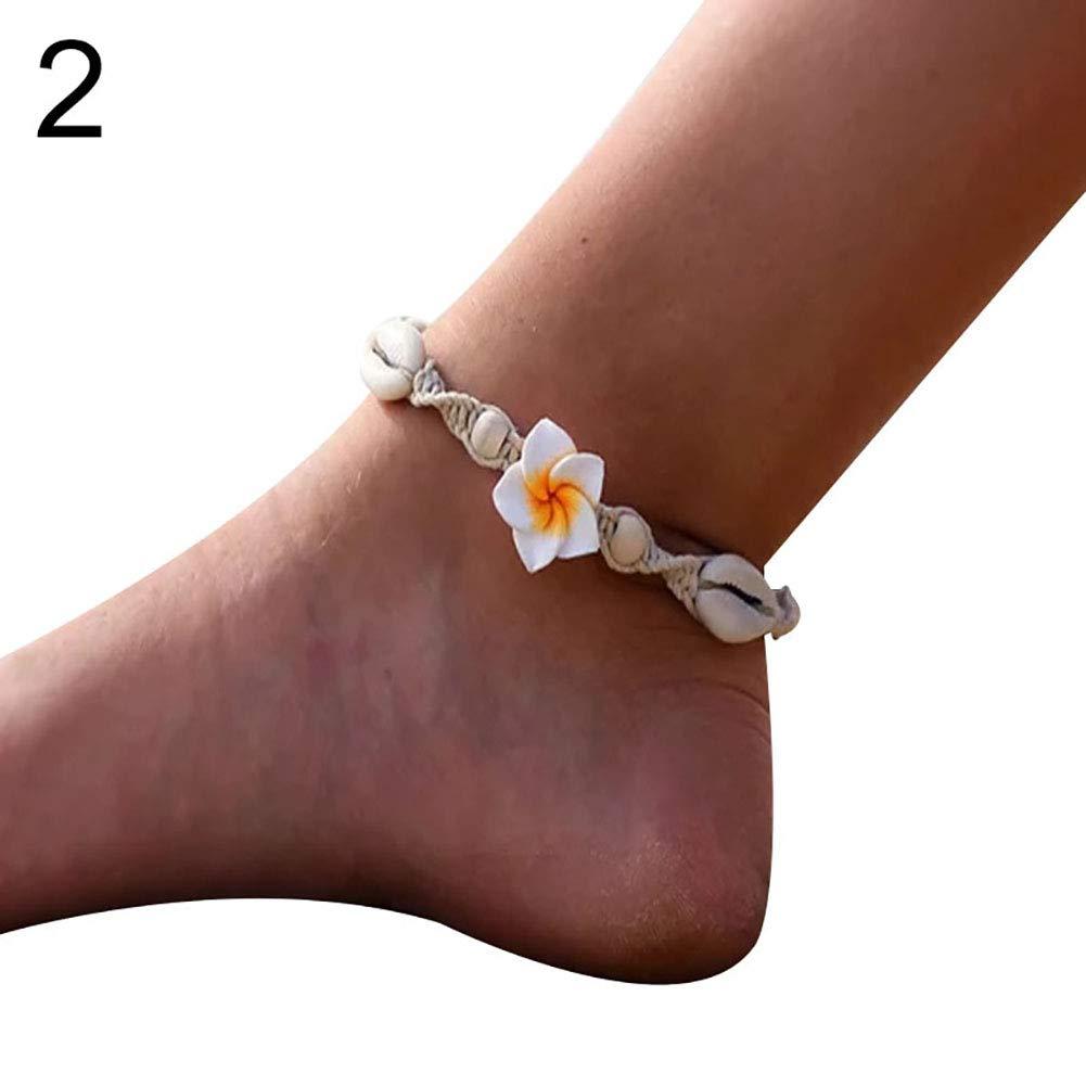 Anklets for Women,Bohemian Woven Shell Flower Ankle Bracelet Handmade Women Beach Foot Jewelry - 2#