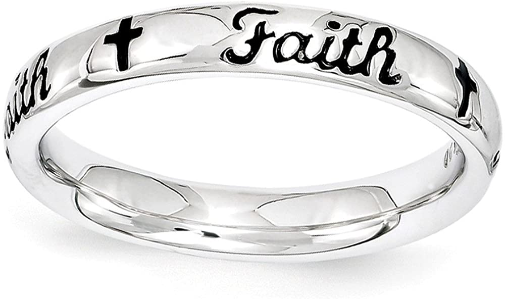 Jewels By Lux Sterling Silver Stackable Expressions Black Enamel Faith Ring