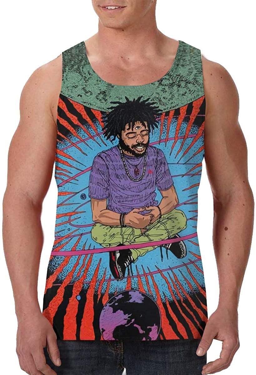 HangHisi King Capital Man Sleeveless Tank Top Casual Sport Gym Vest Black