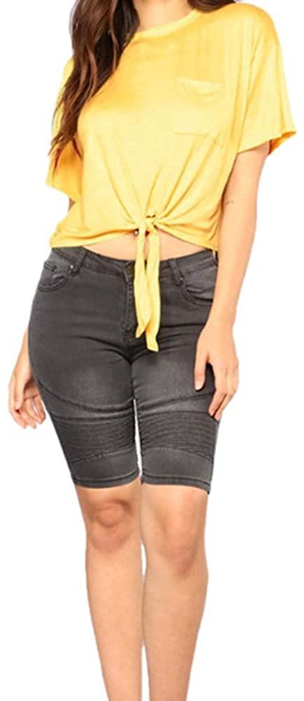 iRACHEU Women's High Stretch Knee-Length Skinny Jeans Shorts Mid-Rise Slim Fit Capris
