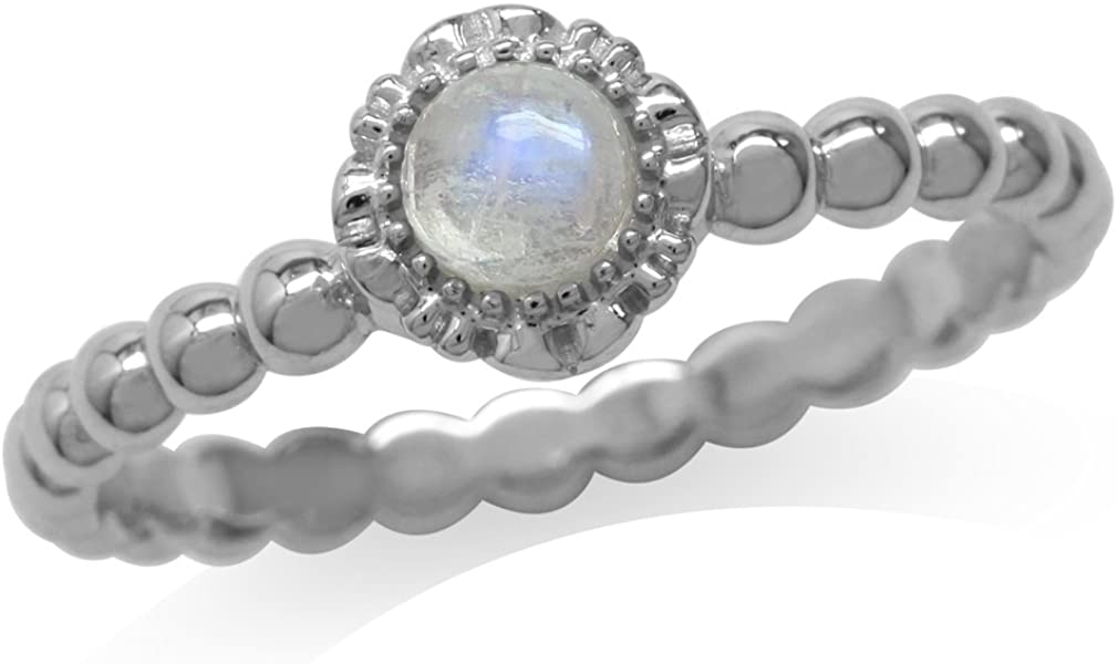 Silvershake Natural Moonstone White Gold Plated 925 Sterling Silver Flower Stack Stackable Ring
