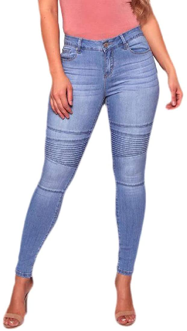 RRINSINS Women's Casual Skinny Fit High Waisted Motorcycle Slim Jeans Denim Pants