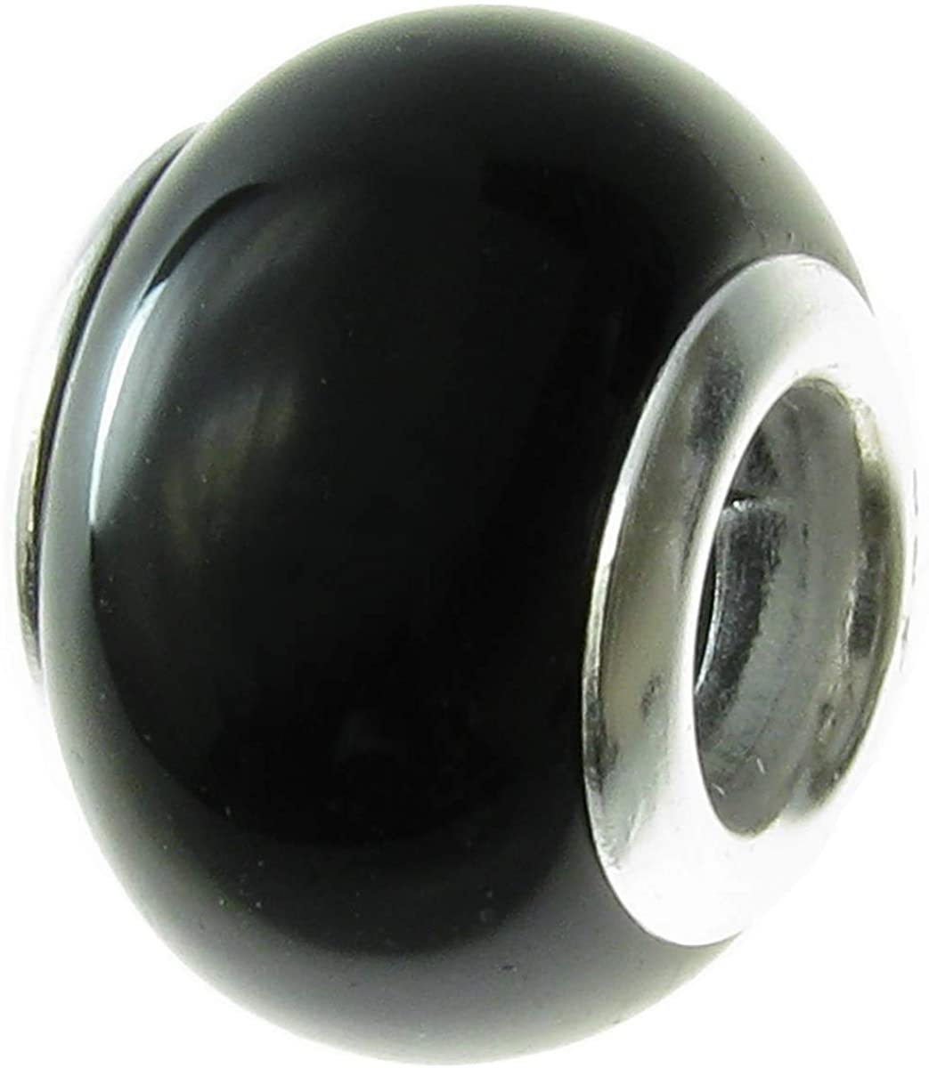 Dreambell 925 Sterling Silver Onyx Round Bead For European Charm Bracelets
