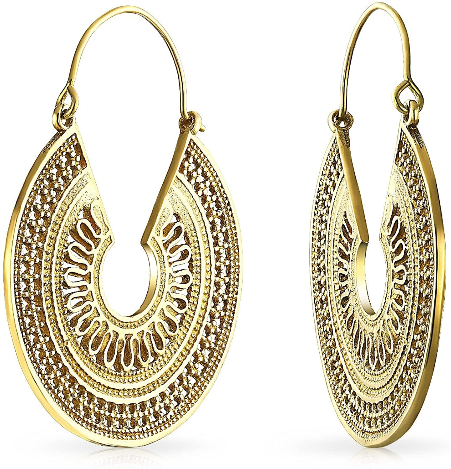 Boho Bali Tribal Style Filigree Crescent Round Flat Shaped Large Hoop Earrings For Women Gold Plated Metal