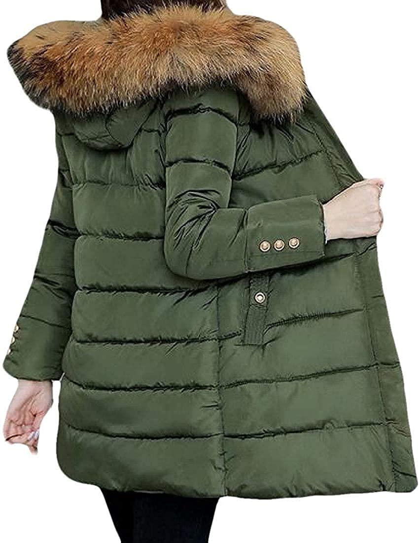 Wndxfhdscd Womens Zipper with Pocket Faux Fur Hoodies Casual Warm Long Sleeve Mid Length Down Jacket Overcoats Outwear