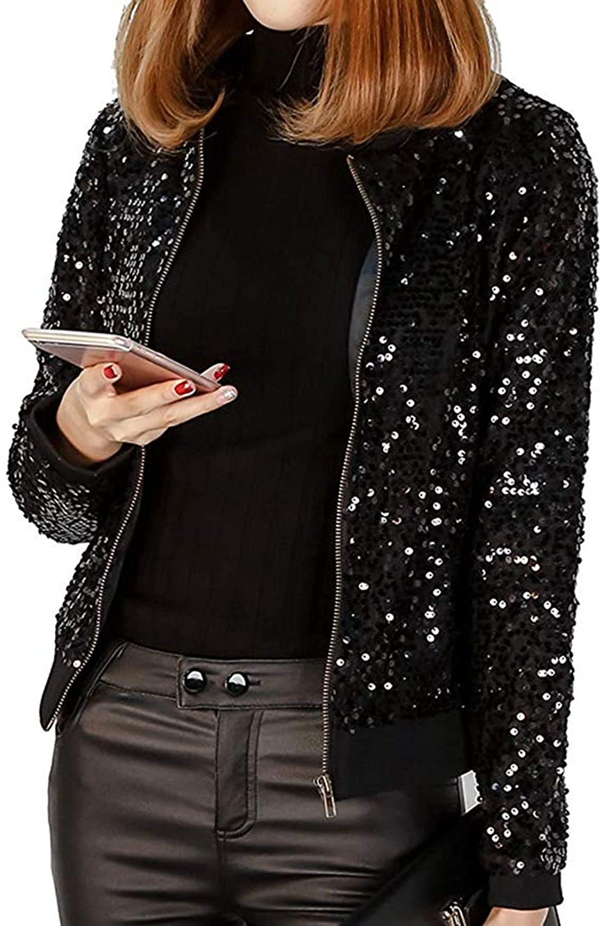 RQH Women's Sparkly Sequin Long Sleeve Zipper Blazer Bomber Jacket