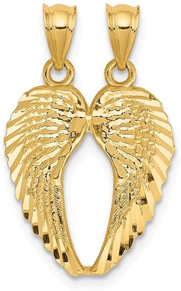 Solid 14k Yellow Gold Break Apart Diamond Cut Angel Wings Pendant (18mm Height x 15mm Width)