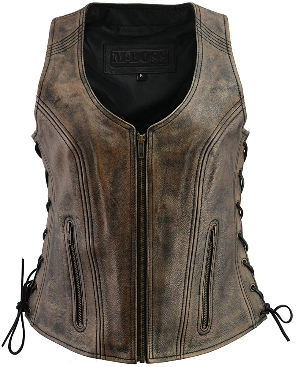 M Boss Motorcycle Apparel BOS24503 Ladies Black and Beige Leather Side Lace Zipper Front Vest - 5X-Large
