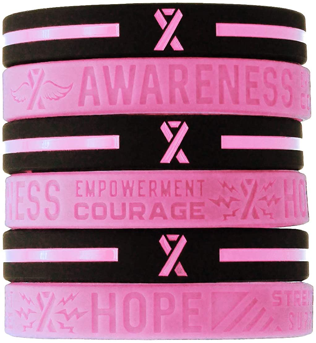 (6-pack) Breast Cancer Awareness Pink Ribbon Bracelets - Bulk Pack of 6 Silicone Rubber Wristbands to Symbolize Hope, Courage, Strength, and Support - Breast Cancer Gifts Jewelry Apparel Accessories