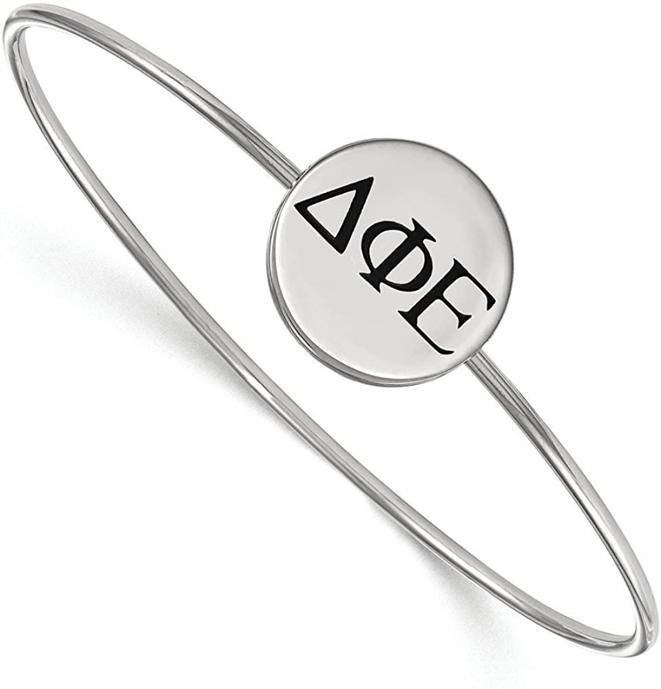 Solid 925 Sterling Silver Delta Phi Epsilon Enameled Slip-on Bangle Bracelet