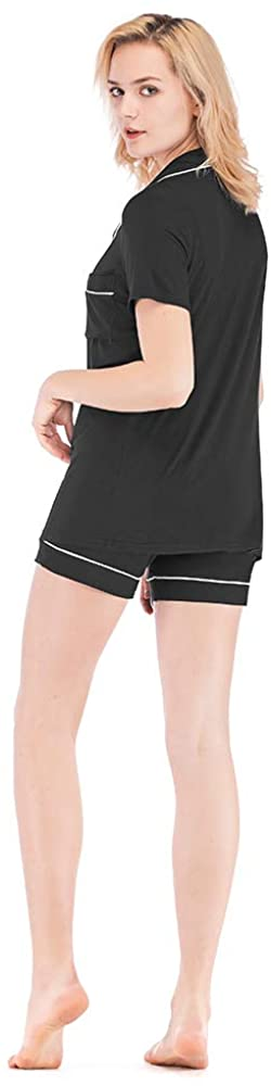 WAYAOZJ Women's Short Sleeve Pajama Set, Silk Satin Comfortable Pajamas with PJ Shorts