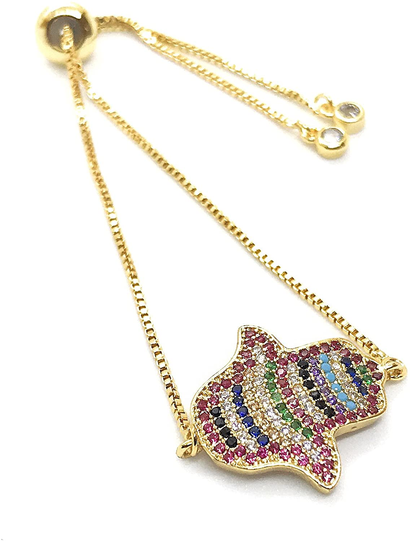 LESLIE BOULES Hamsa Hand Gold Bracelet Adjustable 18K Plated Sliding Chain Amuleto de Protección