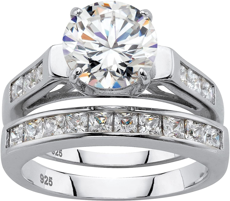 Platinum over Sterling Silver Round Cubic Zirconia Set Bridal Ring Set