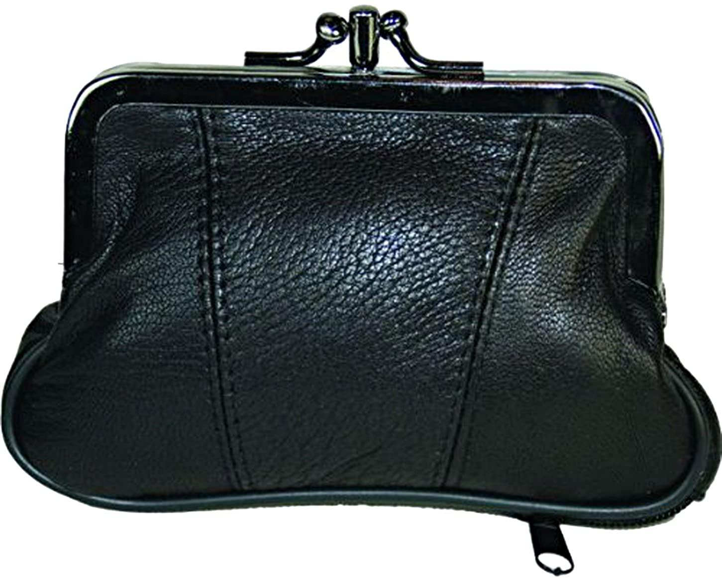 Leather Change Purse Black Y062
