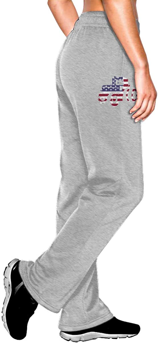 Tractor Silhouette American Flag. Women Jogger Sweatpants Drawstring Waist Yoga Pants with Pocket